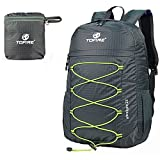 TOFINE Large Hiking Travel Camping Gear Light Weight Foldable Waterproof Portable Backpack 25 Liter Gray