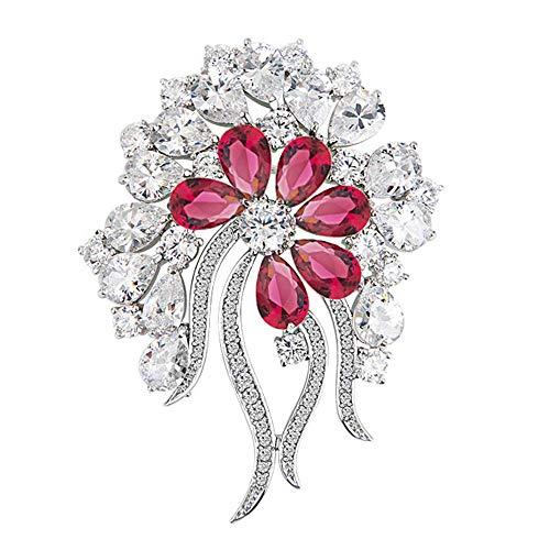 Onefeart Blanco Oro Plateado Broche para Mujeres Niña Oval Zirconia Cúbica Árbol Flor Forma Diseño Estilo Dama 57x47MM