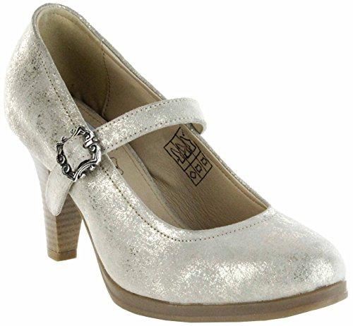 Bergheimer Trachtenschuhe Trachten Pumps Gold Velourleder Damen Schuhe Susi, Größe:40 EU, Farbe:Gold