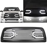 ECOTRIC Front Hood Bumper Grille Grill Replacement Shell Big Horn Horizontal Style for 2010-2018 Dodge Ram 2500 3500 4500 (Black with Lights)