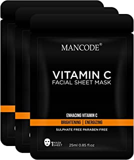 Mancode Vitamin C Facial Sheet Mask - 25ml | Deep Cleanses | Removes Excess Oil | Skin Brightening | Energizing | Adds Rad...