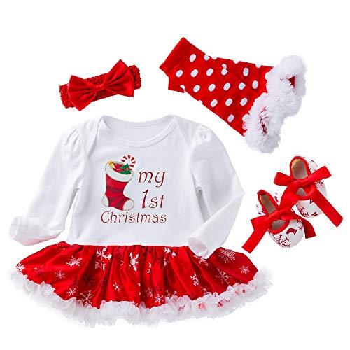 WAFA Infant Baby Mädchen Weihnachten Kostüm Stirnband Outfit anziehen (Socks, 13-24 Monat)