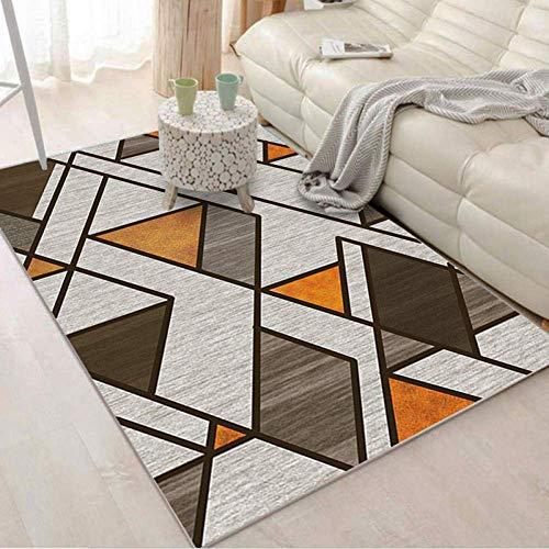 GJXY Moderno diseño de alfombras Alfombra para niños en el salón de Alfombra Fácil Mantenimiento geometría Gris-marrón Naranja Tradicional,140CM×200CM