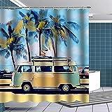 Duschvorhang Retro Tour Bus auf Sandbeacher Duschvorhang Lustige Stoff Badezimmer Sets VW Bus Bad Dekoration-W90xh180 cm.