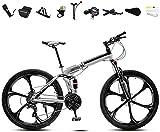 Bicicleta plegable de 24 pulgadas, 30 velocidades, bicicleta de montaña plegable, ruedas de velocidad variable para hombres y mujeres, freno de disco doble ajustable