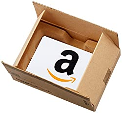 amazon gift card in a small amazon delivery box