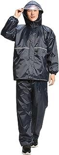 フード付き レインウ 厚いオックスフォード布分割レインコートレインパンツスーツ大人の屋外ハイキングレインコート 防水レインポンチョ (サイズ : XXXL)