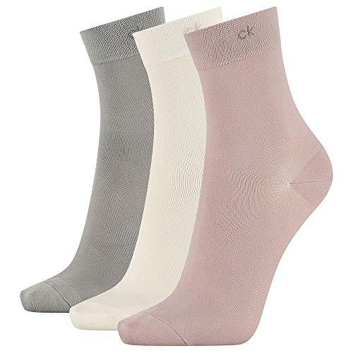 Calvin Klein Socks Womens Short Crew 3p Light Touch Juno Socks, beige Combo, ONE SIZE