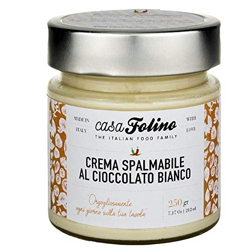 CASA FOLINO Crema Cioccolato Bianco Spalmabile Artigianale 250 grammi   Vasetto di Vetro Ecologico   100% Made in Italy - Tradizione Calabria