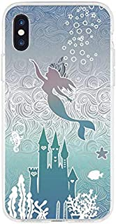 DECO FAIRY Compatible with iPhone XR, Cartoon Anime Animated Blue Castle Love Heart Blue Mermaid Deep Ocean Sea Princess Fairy Tale Series Transparent Translucent Flexible Silicone Cover Case
