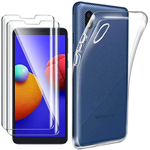HYMY Cover per Samsung Galaxy A01 Core (5.3') + 2X Pellicola Protettiva - Morbida Trasparente Silicone Bumper Case TPU Protettivo Copertura Custodia 9H Vetro temperato