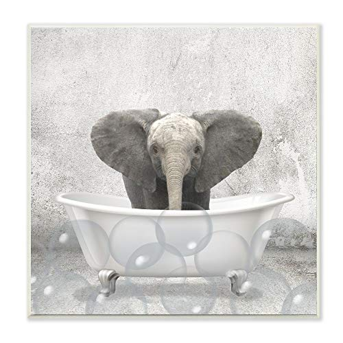 Stupell Industries Baby Elephant Bath Time Cute Animal Design, Designed by Kim Allen Art, 12 x 0.5 x 12, Wall Plaque