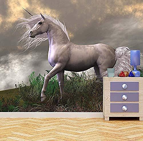 White Unicorn Wall Mural Photo Wallpaper Girls Bedroom 3D Wallpaper Custom 3D Wallpaper Paste Living Room The Wall for Bedroom Mural border-300cm×210cm
