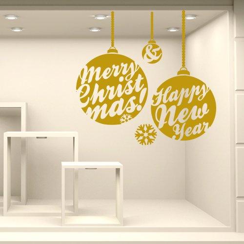 wall art NT0312 Adesivi Murali Vetrofanie natalizie - Addobbi delle feste - Misure 100x96 cm - oro - Vetrine negozi per Natale, stickers, adesivi