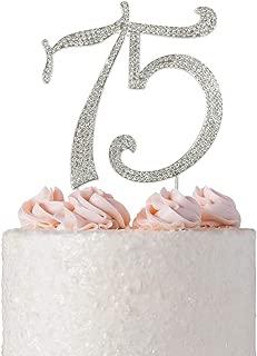 75 Rhinestone Birthday Cake Topper | Premium Sparkly Bling Crystal Rhinestone Diamond Gems | 75th Birthday or Anniversary Party Decoration Ideas | Perfect Keepsake (75 Silver)