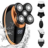 ELECTRFIRE Head Shavers for Bald Men Wet Dry Electric Razor Bald Head Shavers for Men IPX6-Waterproof Rotary Cordless Hair Clippers Nose Hair Trimmer USB Rechargeable with 5 Razor Head LED Display