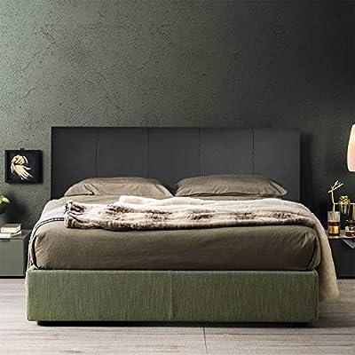 Cabecero de cama de piel sintética, color negro Fabricado en Italia. El cabecero está totalmente diseñado y fabricado en Italia. El diseño es sencillo y elegante con diseño de rayas verticales fácilmente adaptable a cualquier estilo de decoración. Mo...