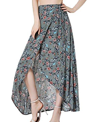 Mujeres De Cintura Alta Verano Casual Boho Maxi Falda De Estampado Floral Wrap Cubierta De Largo Armada XL