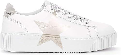 Nira Rubens paniers Modèle Cosmopolite en Cuir Blanc avec étoile, Taille UK