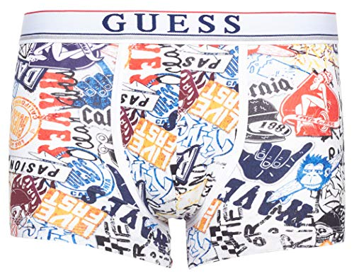 Guess Herren Boxershort Boxer Trunk (XXL, Graffiti Collage WHI)