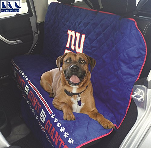 NFL CAR SEAT COVER - NEW YORK GIANTS Waterproof, Non-slip BEST Football LICENSED PET SEAT cover for DOGS & CATS.