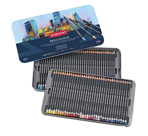 Lápis de Cor Permanente Procolour 72 Cores Estojo Lata Derwent, 2302508