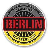 2 x 10cm/100 mm Berlín Alemania Deutschland Etiqueta autoadhesiva de vinilo adhesivo portátil de viaje equipaje signo coche divertido #6027