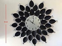 Black Leaf Metal Decorative Starburst Wall Clock With Glass Crystals