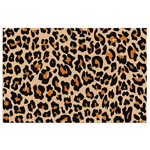 Felpudo de leopardo con respaldo de PVC resistente para uso en interiores y exteriores, color naranja