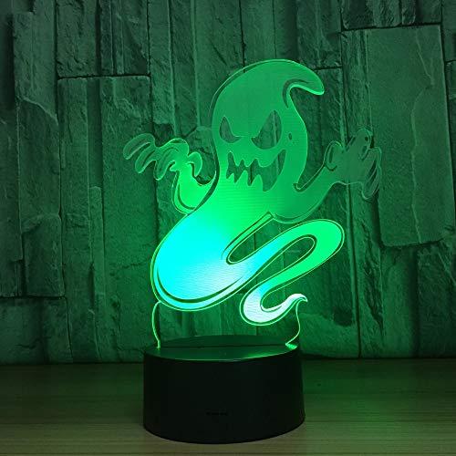 Lampada da tavolo Ghost Night Light sostitutiva Lampada da tavolo fantasma olografica in acrilico chiaro Halloween per ciondolo regalo per bambini