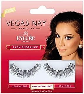 Eylure Vegas Nay Easy Elegance Fake Eyelashes, Reusable, Adhesive Included, 1 Pair
