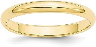 10K Amarillo Oro 3mm La mitad Redondo anillo de banda–anillo tamaño opciones gama: H a Z
