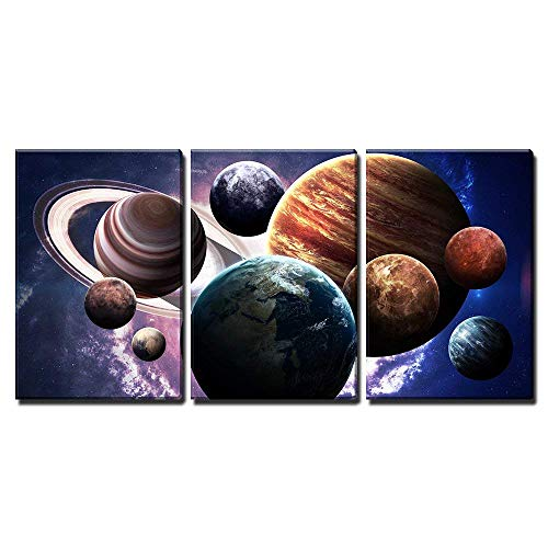 """wall26 Planets of The Solar System - Canvas Art Wall Decor - 16""""x24""""x3 Panels"""