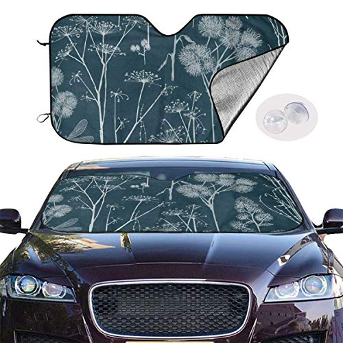 ghkfgkfgk Car Windshield Sun Shade UV Ray Heat Reflector Visor Protector Front Window Sunshade Cover-Retro Butterfly Dandelion
