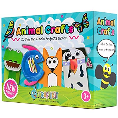 Craftikit Arts and Crafts for Kids - 20 All-Inclusive Fun Toddler Craft Box for Kids - Organized Art Supplies for Kids Ages 3-8 - Animal-Themed Kids Craft Kits from Craftikit
