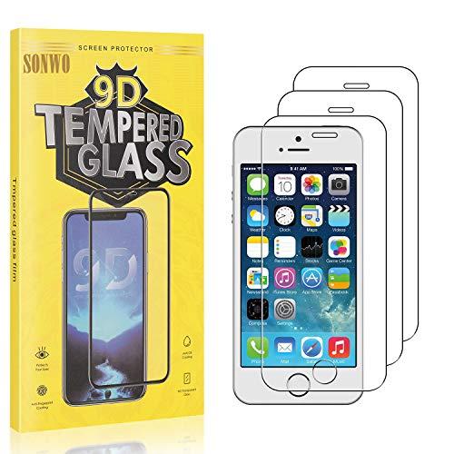 3 Stück Displayschutzfolie Kompatibel mit iPhone SE/iPhone 5S / iPhone 5 / iPhone 5C, SONWO Panzerglas Schutzfolie für iPhone SE/iPhone 5S / iPhone 5 / iPhone 5C, Gehärtetes Glas Schutzfolie