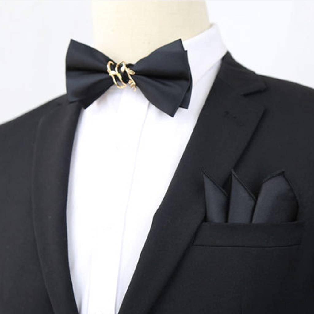 NSXKB Pure Color Bow Tie Pocket Square Wedding Groom Wedding Best Man Trendy Men's Western Accessories Suit Bow Decoration (Color : A)