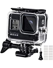 Waterdichte behuizing voor GoPro Hero 8, 60M waterbestendige duikhoes behuizing met snelmontage klemmen & 12 anti-fog-inzetstukken toebehoren voor Gopro Hero 8 Black Action Camera (2019)