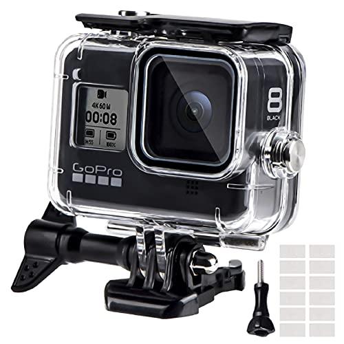 Funda Impermeable para GoPro Hero 8 Black, 60M Funda Protectora de Buceo con Pinza de Montaje rápido la, 12 Insertos antivaho para cámara Gopro Hero 8 Black Action 2019