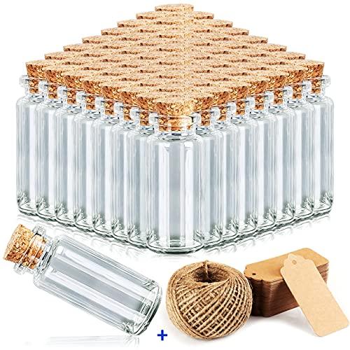 beihuazi Frascos Pequeños 40Pcs Mini Botellas 10ml Bote Cristal Pequeño con Tapones de Corcho para Bodas, joyería, Regalos...