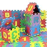 36 PCS Alfombra Puzzle Niños 12x12 cm con 26 Letras para Espuma EVA Lavable Colorido & Números arábigos del 1 al 9
