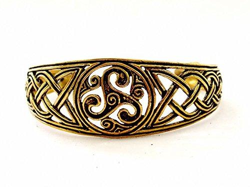 Keltischer Armreif in breiter Ausführung mit einem keltischen Knotenmuster und Triskele Farbe Bronze