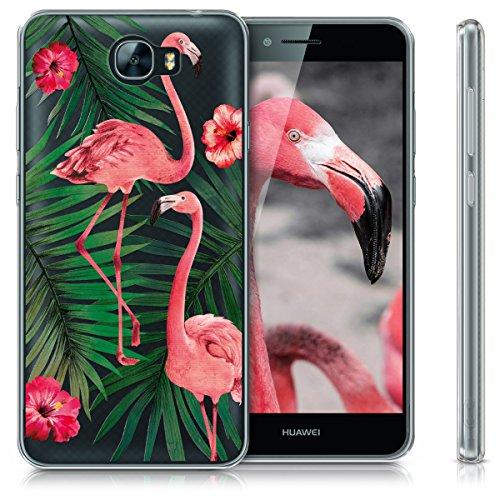 kwmobile Huawei Y6 II Compact (2016) Hülle - Handyhülle für Huawei Y6 II Compact (2016) - Handy Case in Flamingo Palmen Design Rosa Grün Transparent - 5