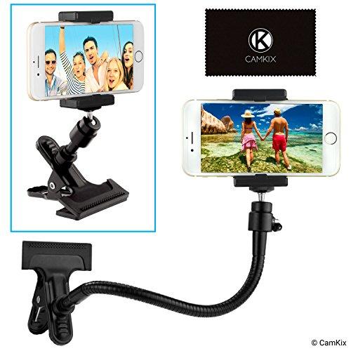 Soporte para teléfono / cámara con cuello de ganso flexible y abrazadera fuerte – Para fotografía móvil, registro y visualización de videos, navegación GPS, etc. – Montaje de trípode para cámara