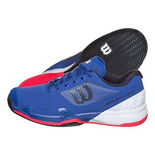 Wilson Rush Pro 2.5 Clay, Zapatillas de Tenis para Hombre, Azul (Mazarine Blue/White/Neon Red 000), 44 EU