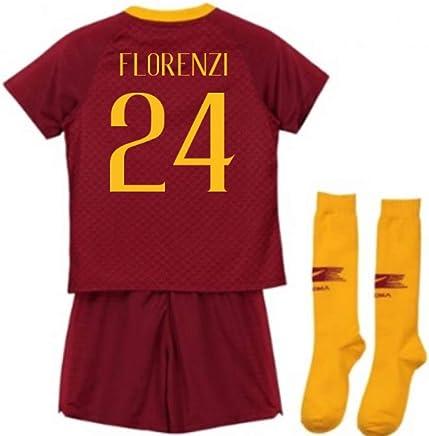 UKSoccershop 20182019 AS Roma Home Nike Little Boys Mini Kit (Alessandro Florenzi 24)