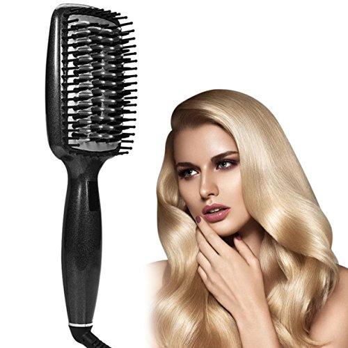 Cepillo para el Pelo Alisador Iónico para Cabello Bloqueo Automático y LED Indicador Temperatura Ajustable anti quemaduras para hacer que su cabello termine sedoso, suave y libre de frizz
