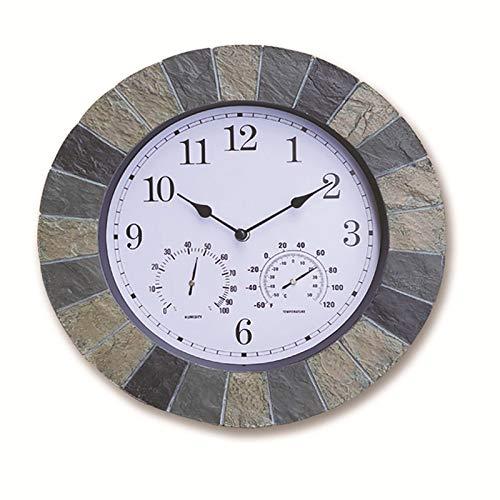 """QHTC Garden Wanduhr mit Thermometer und Hygrometer-35,5 cm,Slate Effect,Outdoor römische Ziffern wasserdichte Uhr (14"""") Khaki"""