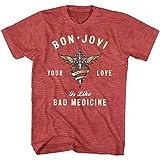 Photo de American Classics Bon Jovi☛ T-Shirt pour Adulte Motif cœur et Dagger Love Like Bad Medicament - Rouge - Taille L