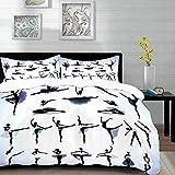 ropa de cama: juego de funda nórdica, arte, diseño de ilustración de siluetas negras de bailarinas de ballet, artes escénicas, lavanda púrpura, juego de funda nórdica de microfibra con 2 fundas de alm